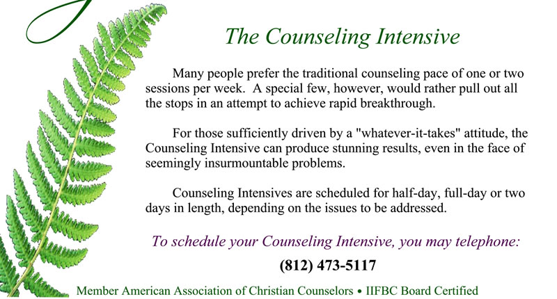 The Counseling Intensive - Many people prefer the traditional counseling pace of one or two sessions per week. A special few, however, would rather pull out all the stops in an attempt to achieve rapid breakthrough. For those sufficiently driven by a whatever-it-takes attitude, the Counseling Intensive can produce stunning results, even in the face of seeming insurmountable problems. Counseling Intensives are scheduled for half-day, full-day or two days in length, depending on the issues to be addressed. DrJudith will arrange to set aside this block of time for you at no addition to her normal rate of $120/hour. To schedule your Counseling Intensive, you may telephone: (812) 473-5117
